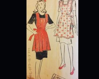 Vintage 40s Pinafore Pinny Princess Seam Lace Trimmed Tie Back Apron Pattern 202 Medium