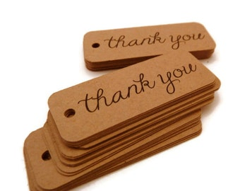 100 Count - Thank You Tags - Hang Tags - 2.0 x 0.75 inch - Kraft Tags - Holiday Tags - Wedding Favor Tags - Jewelry Tags TY64
