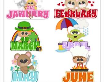 On the Calendar January-June 1 Clipart (Digital Zip Download)