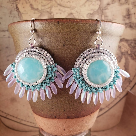 Beautiful Sky Blue with White Cloud Swirl Peruvian Opal Earrings