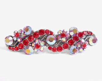 Crystal Flower And Vine Hair Accessory Jewelry Barrette Clip Antique Silver Tone Pink Red