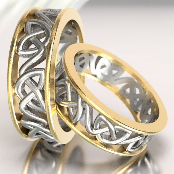 2-Tone Gold and Silver Celtic Wedding Ring Set Dara Knotwork Design in 10K 14K 18K Gold, Palladium or Platinum, Made in Your Size CR-228
