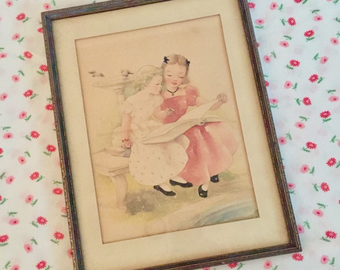 Vintage Mid Century Wall Decor, Vintage Little Girl Bedroom Picture, Baby  Girl Nursery Picture