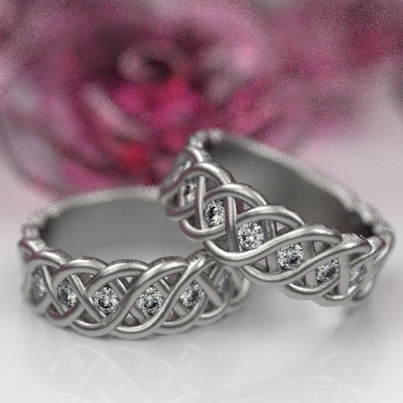 Celtic Wedding Ring Set with Moissanite Stones in 4 Cord Braided Knot Design in Sterling Silver, Made in Your Size CR-1008