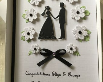 Handmade Personalised Boxed Wedding Day Card Engagement Anniversary Congratulations