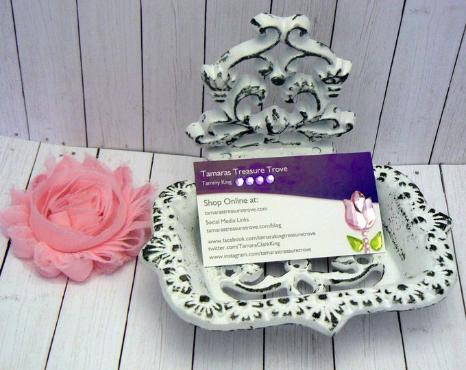 Victorian Business Card Holder White Shabby Chic Desk Office Trinket Holder