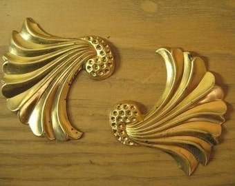 2 Large Fan Vintage Brass Stamping