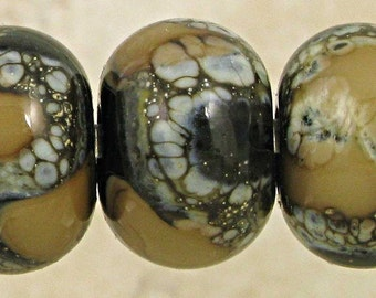 Lampwork Contemporary Art Glass Bead Set of 6 Handmade with Organic Silvered Ivory Web Small 11x7mm Black and Tan