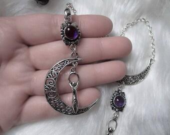 Moon Goddess Necklace, Amethyst Pendant, Purple Crystal Moon, Moon Witch, Goddess Charm