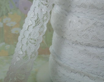 White Lace Elastic Trim diy wedding lingerie Headband Underwear Bra Doll Scrapbooking elastic lace by the yard