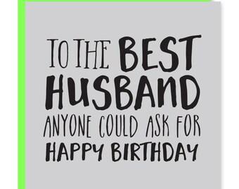 Best husband card   Husband birthday card   Happy birthday to my husband   Recycled
