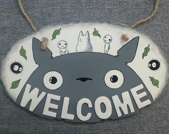 Wooden Plaque Welcome Totoro