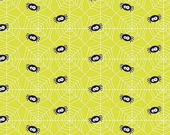 Halloween Fabric, Knit Fabric, Halloween Knit, Spider Knit Fabric, Fabric with spiders, By Riley Blake designs, K5303R