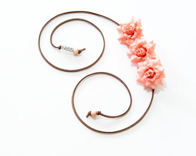Peach Rose Side Flower Crown