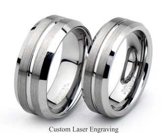 Tungsten ring set Etsy