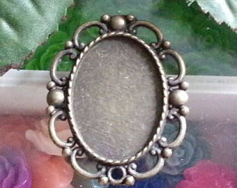 top: 20 x 28 mm support cabochon. 40 x 32 x 2 mm, hole: 2 mm antique bronze