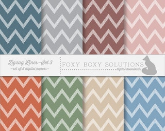 Earth Tones Zig Zag Pattern Instant Download Printable Scrapbooking Paper for Personal & Commercial Use Set of 8 Printable digital Papers