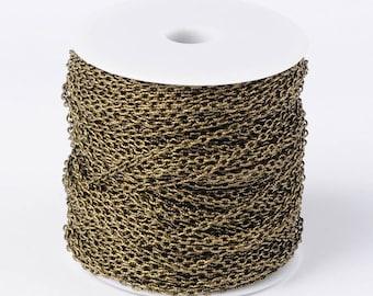 BULK Spool - Textured Antique Brass/Bronze Chain - 325+ feet - #CHT104Y-AB