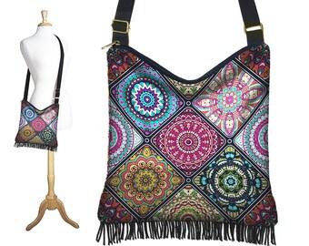 Colorful  Boho Hippie Bag, Cross Body Hobo Purse, Bohemian Crossbody Bag, Gyspy Fringe Purse Mandala blue purple orange aqua yellow RTS