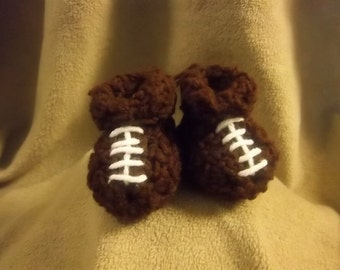 Football Baby Booties Crochet Slippers 3-6mo size