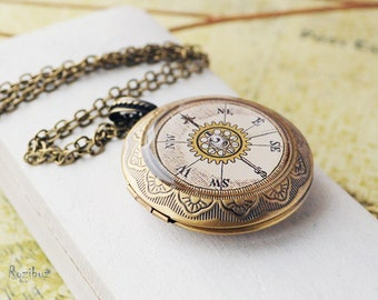Vintage compass locket necklace - compass jewelry, compass locket necklace, photo locket, gift for her, long chain brass - made to order
