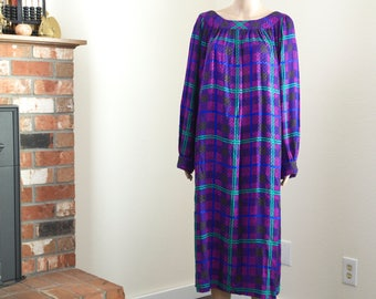 Sybil Connolly tent dress / vintage 60s purple plaid midi dress / billowy 60s dress Med to XL