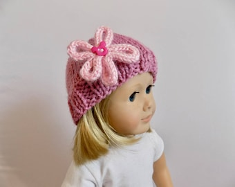 Pink Doll Hat, 18 Inch Doll Beanie, Pink Knit Doll Hat, Doll Clothes, Toys, Pink Flower Hat