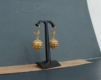 14k Gold Ball Earrings, Large Gold Earrings, Dubrovik Filigree Earrings, Statement Earrings, Gold Filigree Ball Earrings, Croatian Earrings