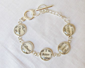 Anne of Green Gables Bracelet Vintage Literature Text Shirley Gilbert. Two Cheeky Monkeys Jewelry Jewellery. Silver Charm Words Classic