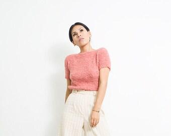 Hand knit tank top/ short sleeve top/ Alpaca casual top/ summer top/ summer jumper/ summer sweater/loose knit top/Boho top/ Blouses/Tie-side