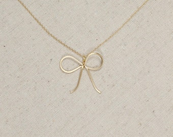 Gold Bow Necklace | Dainty Ribbon | Layering | Simplistic | Charm | Minimalist | Trending | Gift for Her | Ribbon Necklace| Mothers Day Gift