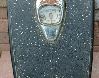 Mid Century Detecto Black Bathroom Scale - Chrome with Red Letters - Mod Decor