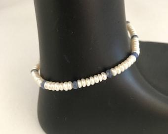 Freshwater pearl bracelet, sapphire birthstone bracelet, september birthstone bracelet, button pearl bracelet, pearl bracelet