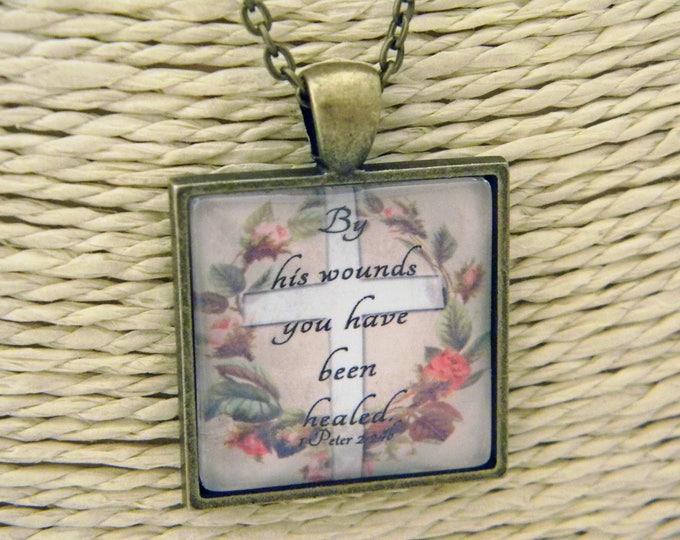 Mustard seed handicrafts esv scripture cabochon pendant necklace christian gift bible verse 1 peter 224b negle Choice Image