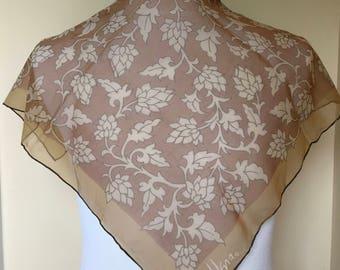 Silk Scarf Designer VERA NEUMANN Flowered Brown Sheer Square