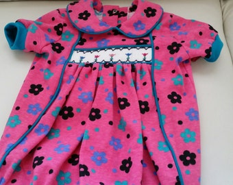 Bright Pink Girls Smocked Romper