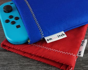 Minimalist Sonic the Hedgehog / Super Mario Inspired Plain Colour Block Nintendo Switch Protective Fabric Pouch Case