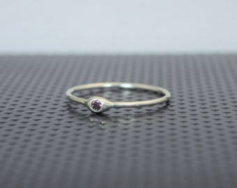 Dainty Sterling Silver Alexandrite Mothers Ring, June Birthstone, Tiny Alexandrite Ring, Dew Drop Ring, Stacking Ring, June Birthday Gift