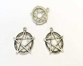 10pcs  Antique silver pentagram  pendant charm 27mm