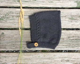 Merino Wool Cable Knit Pixie Hat - Charcoal Grey