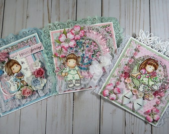 Set of 3 - OOAK Shabby Chic Magnolia Tilda Easel Cards - Girly, Greens, Pink,s Blues, Lacey, Gift, Greeting Card