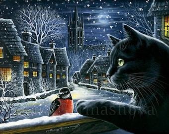 Black Cat Print Silent Night  by Irina Garmashova