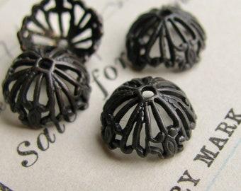 NEW! Tiffany Lampshade 10mm black bead cap, antiqued black brass (4 beadcaps) filigree, dark patina, half dome, lead nickel free BC-G-007