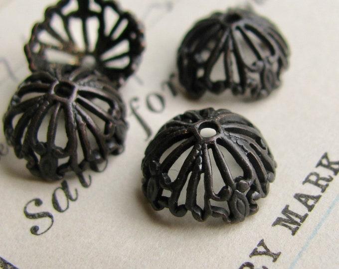 Tiffany Lampshade 10mm black bead cap, antiqued black brass (4 beadcaps) filigree, dark patina, half dome, lead nickel free BC-G-007