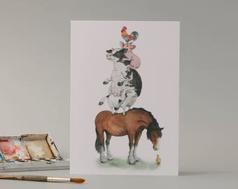 The Farmyard; rooster, pig, cow, horse, duckling hand drawn card