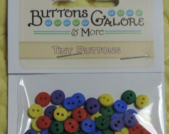 SALE Primary Colors, Tiny Round Packaged Buttons, 2 Hole Buttons by Buttons Galore, Style 1347, Sewing, Crafting, Embellishments