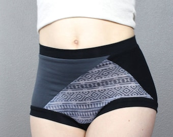 Grey Ethnic Print, High Waist Panties, jersey fabric, unique, gift for her, aesthetic clothing, Valentines, bamboo, ethnic print, bohemian