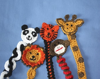 Zoo Animals Soother or Pacifier Clip or Applique pdf PATTERNS, tiger, lion, panda, monkey, giraffe, crochet for baby