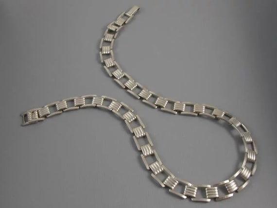 "Vintage Retro Moderne sterling silver tank track tread choker necklace, bracelet, mid century, Art Deco, 1950s, post war, 21 grams, 15-1/2"""