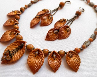 Fall Gold Fall Leaves Leaf Necklace Leaf Earrings Autumn Jewelry Statement Necklace Fall Earrings Handmade Jewelry Gold Leaves Yellow